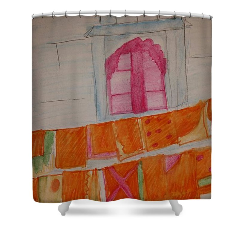Washing Shower Curtain featuring the painting Washing Day by Janine Bartram