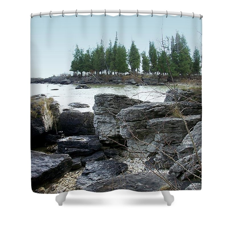 Washington Island Shower Curtain featuring the photograph Washington Island Shore 3 by Anita Burgermeister
