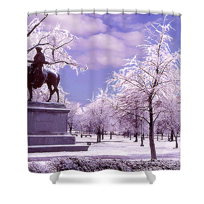 Landscape Shower Curtain featuring the photograph Washington Square Park by Steve Karol