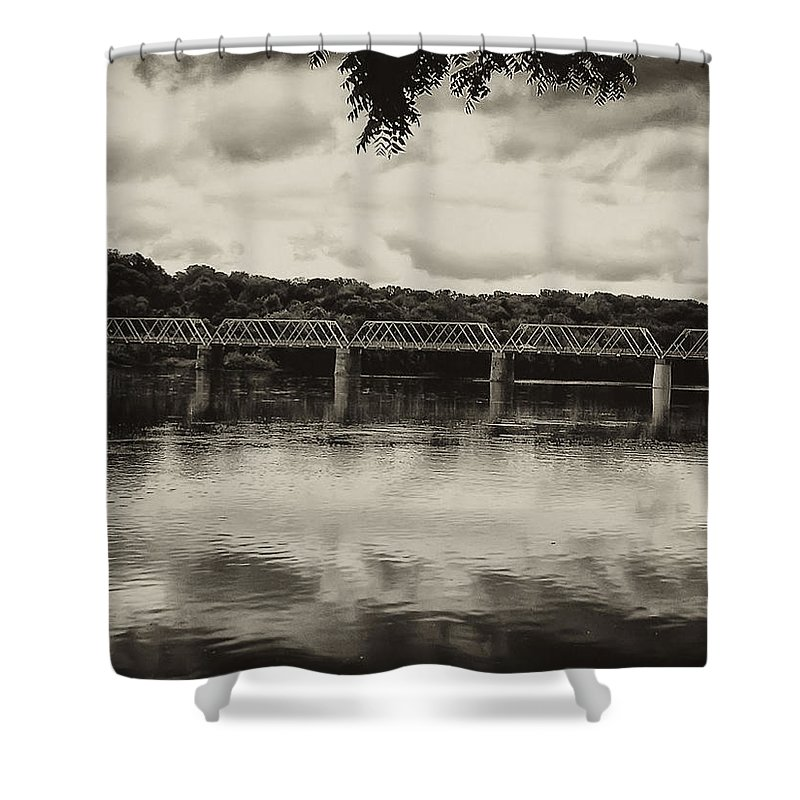 Washingtons Crossing Shower Curtain featuring the photograph Washingtons Crossing Bridge by Bill Cannon