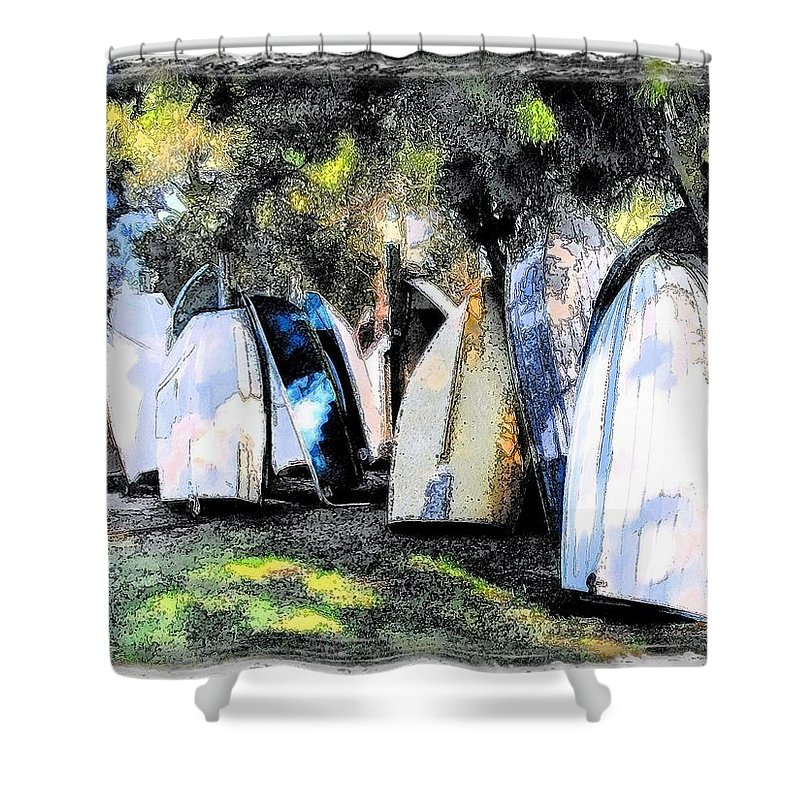 Boat Shower Curtain featuring the photograph Wat-0008 Boat Hire by Digital Oil