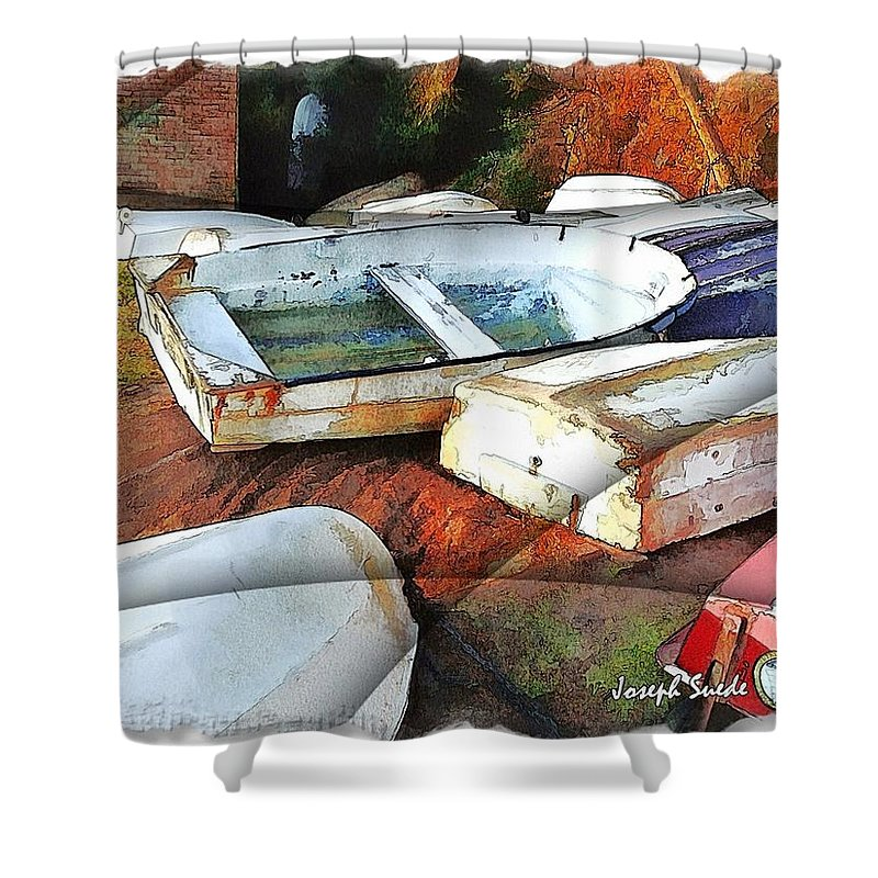 Boats Shower Curtain featuring the photograph Wat-0012 Tender Boats by Digital Oil