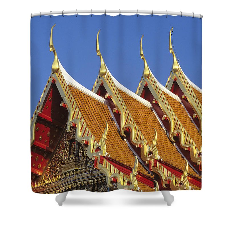 Architecture Shower Curtain featuring the photograph Wat Benjamabophit by Gloria & Richard Maschmeyer - Printscapes