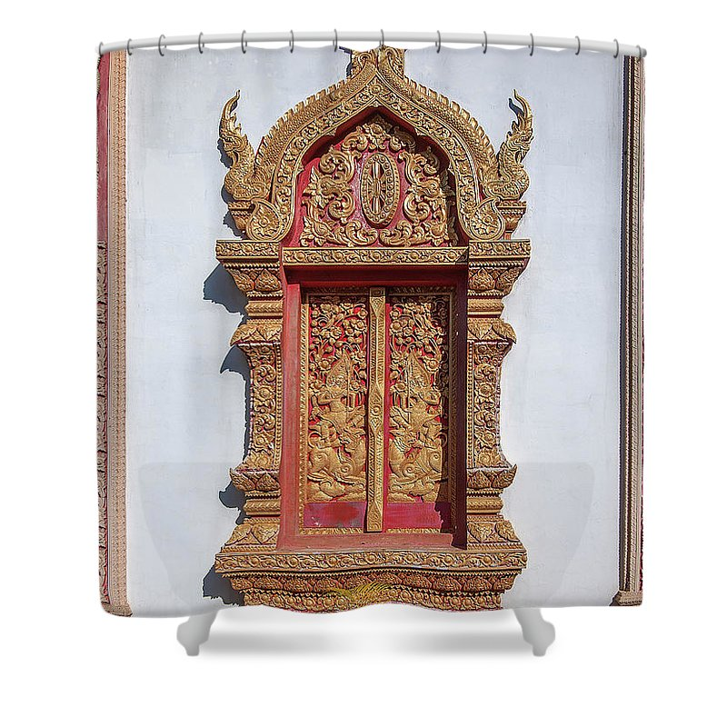 Scenic Shower Curtain featuring the photograph Wat Buppharam Phra Wihan Window Dthcm1582 by Gerry Gantt