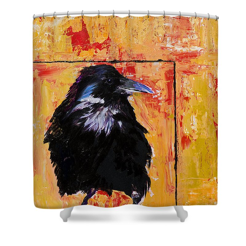 Large Decorative Fine Art Prints Shower Curtain featuring the painting Watch And Learn by Pat Saunders-White