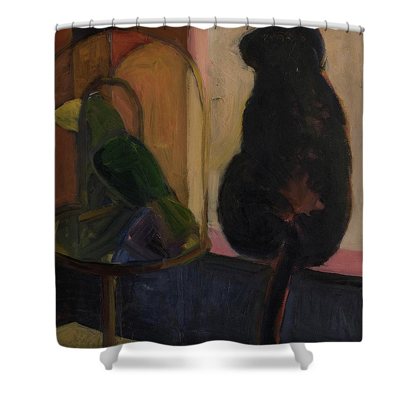 Bird Shower Curtain featuring the painting Watch And Wait by Craig Newland