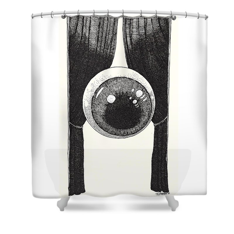 Illustration Shower Curtain featuring the drawing Watchful by Tobey Anderson
