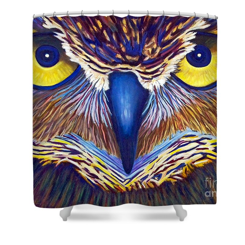 Owl Shower Curtain featuring the painting Watching by Brian Commerford
