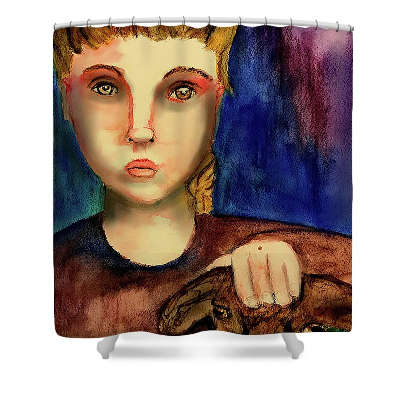Girl Shower Curtain featuring the painting Watching by Cynthia Richards