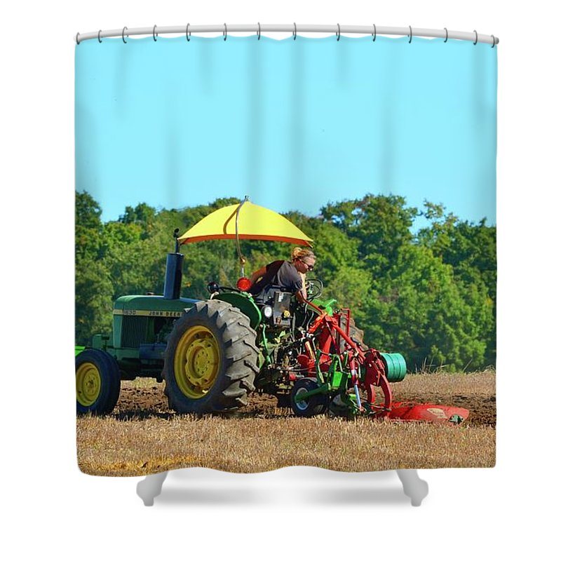 Farm Shower Curtain featuring the photograph Watching Her Plow by Lyle Crump