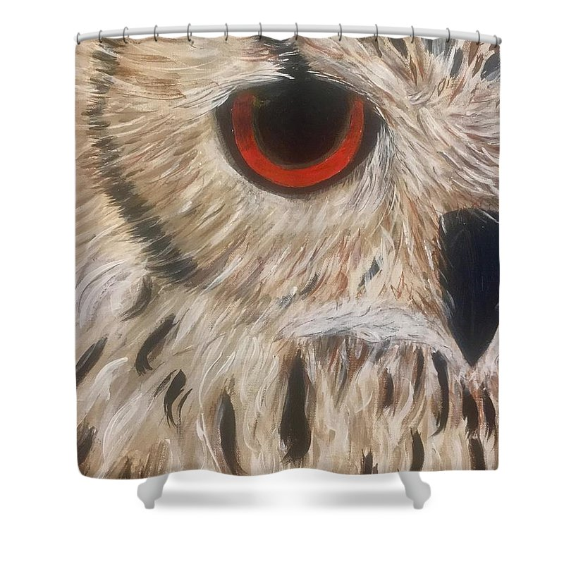 Owl Orange Shower Curtain featuring the painting Watching Over You by Koni Webb Bosch