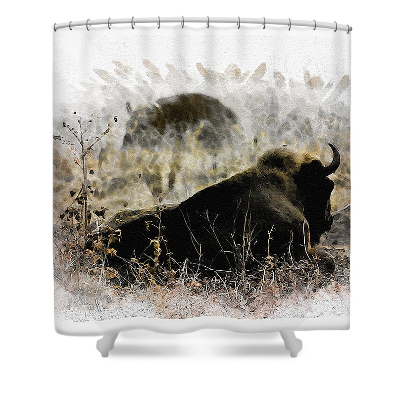 Bison Shower Curtain featuring the digital art Watching The Enemy by Diana Van