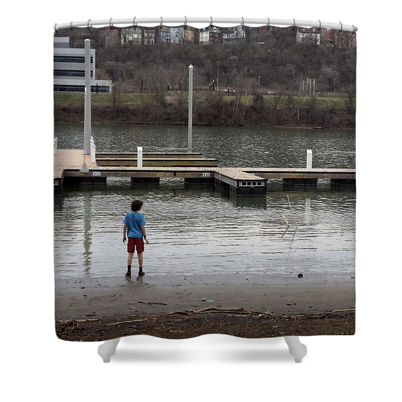 Boy Shower Curtain featuring the photograph Watching The Tide by Joyce Wasser
