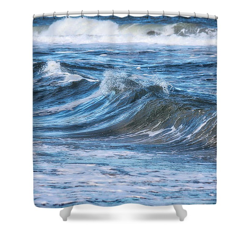 Waves Shower Curtain featuring the photograph Watching The Waves by Karin Everhart