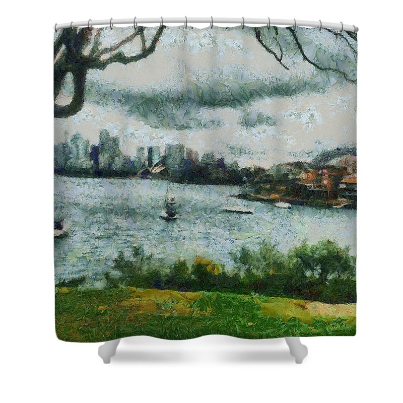 Skyline Shower Curtain featuring the photograph Water And Scenery by Ashish Agarwal