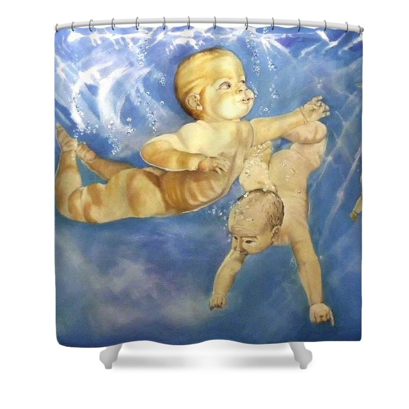 Babies Shower Curtain featuring the painting Water Babies by Jane Simpson
