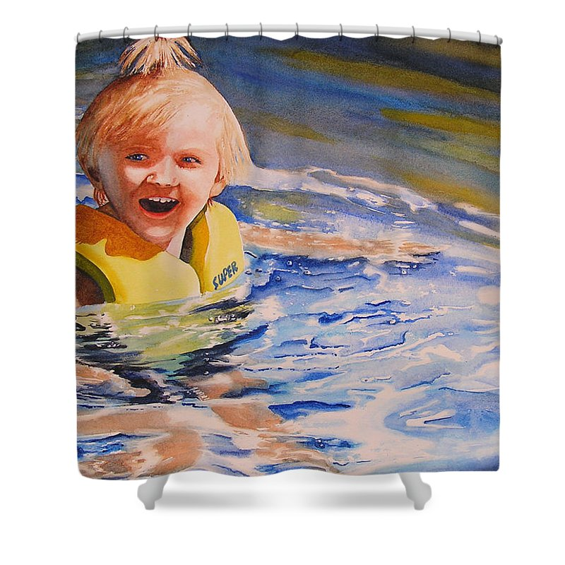 Swimming Shower Curtain featuring the painting Water Baby by Karen Stark