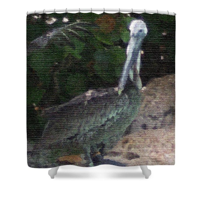 Bird Shower Curtain featuring the mixed media Water Bird by Pharris Art