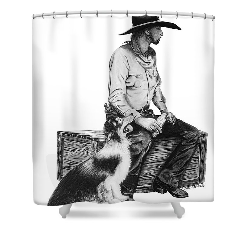 Water Break Shower Curtain featuring the drawing Water Break by Peter Piatt