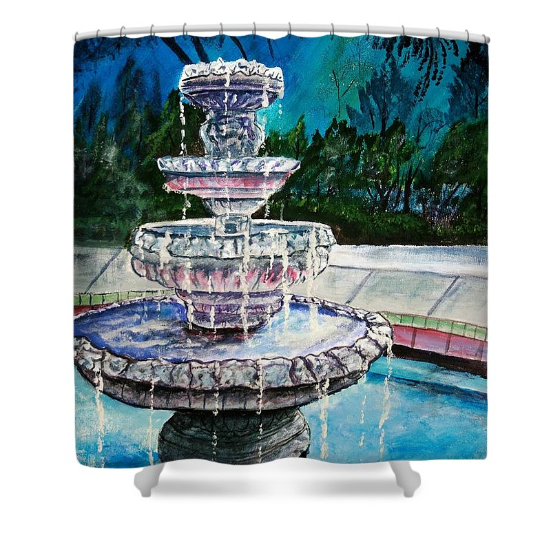 Acrylic Shower Curtain featuring the painting Water Fountain Acrylic Painting Art Print by Derek Mccrea