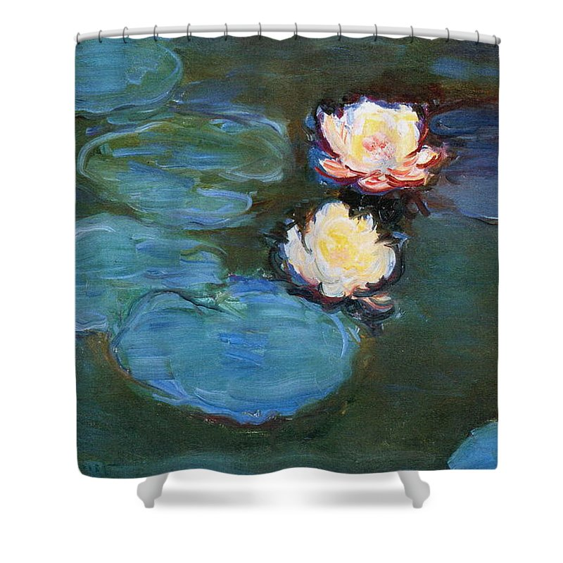 Sunlight Shower Curtain featuring the painting Water Lilies 1899 by Claude Monet