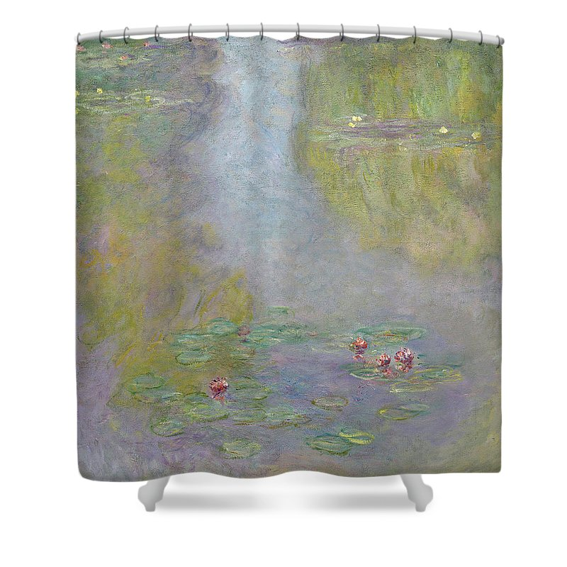 Sunlight Shower Curtain featuring the painting Water Lilies 1908 by Claude Monet