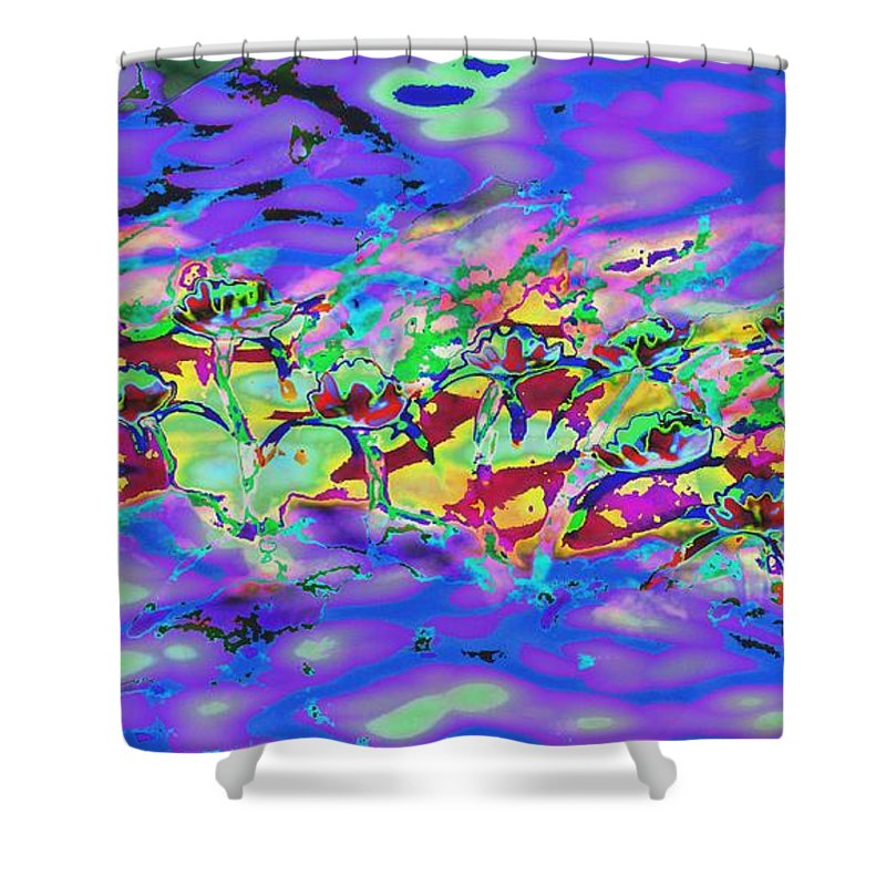 Abstract Shower Curtain featuring the painting water lilies In twilight by Lynn Wood