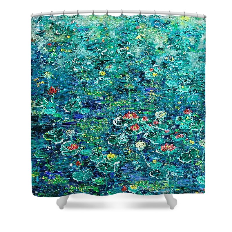 Water Lily Paintings Shower Curtain featuring the painting Water Lilies Lily Pad Lotus Water Lily Paintings by Seon-Jeong Kim