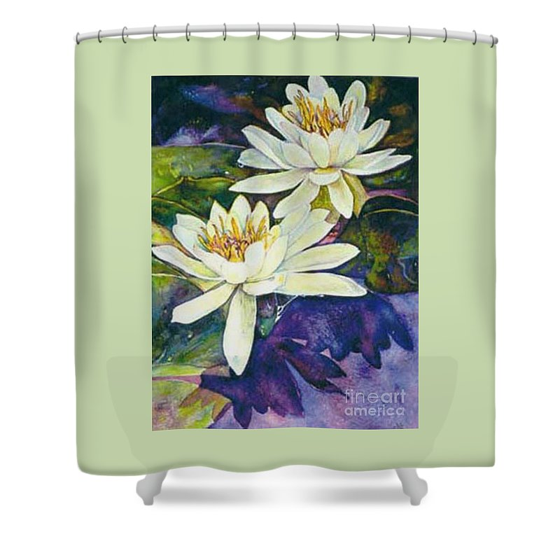 Flower Shower Curtain featuring the painting Water Lilies by Norma Boeckler