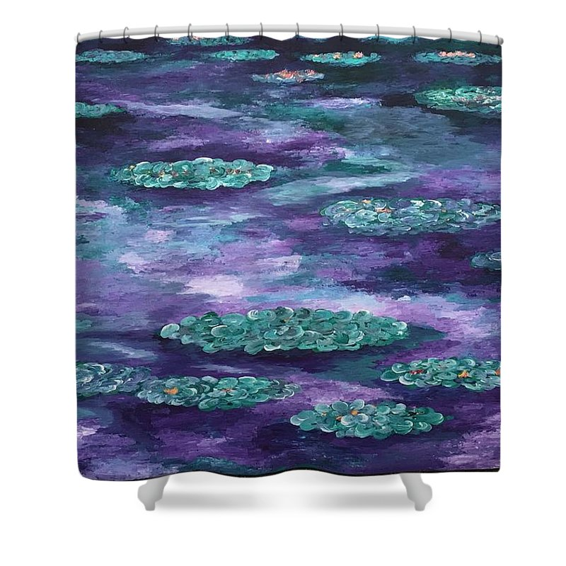 Oh Wow Shower Curtain featuring the painting Water Lilies by Suniti Bhand