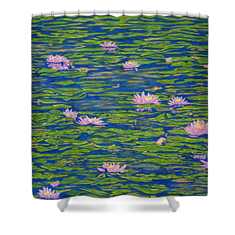 Lotuses Shower Curtain featuring the drawing Water Lily Flowers Happy Water Lilies Fine Art Prints Giclee High Quality Impressive Color Lotuses by Baslee Troutman