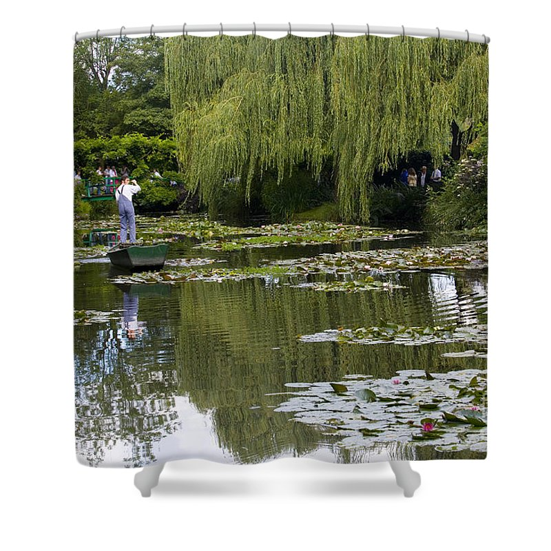 Monet Gardens Giverny France Water Lily Punt Boat Water Willows Shower Curtain featuring the photograph Water Lily Garden Of Monet In Giverny by Sheila Smart Fine Art Photography
