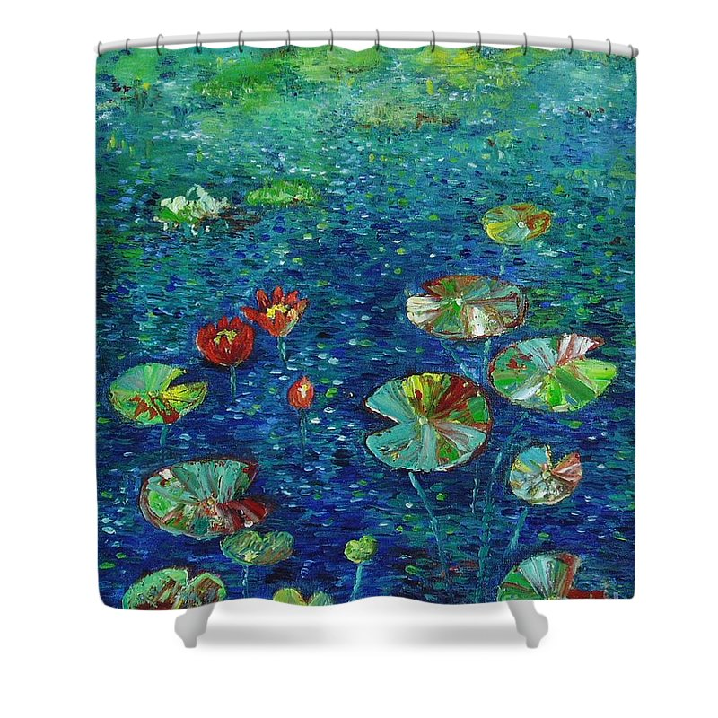 Lotus Paintings Shower Curtain featuring the painting Water Lily Lotus Lily Pads Paintings by Seon-Jeong Kim