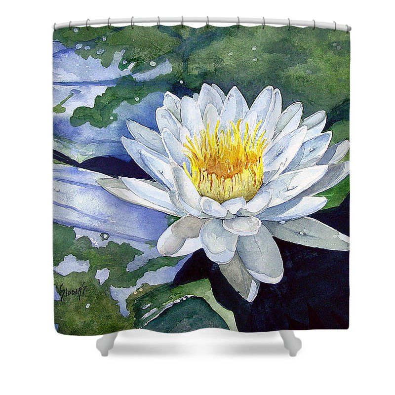 Flower Shower Curtain featuring the painting Water Lily by Sam Sidders
