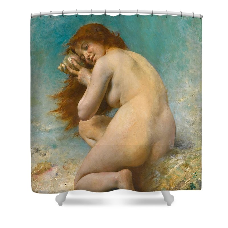 Leon Perrault Shower Curtain featuring the painting Water Nymph by Leon Perrault