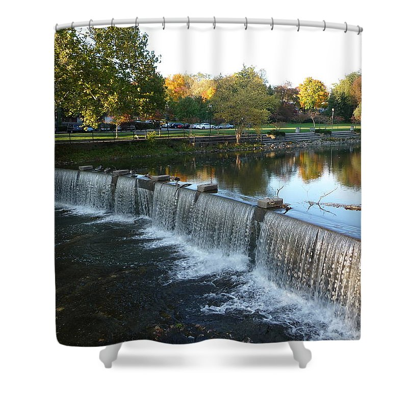 Chagrin Falls Shower Curtain featuring the photograph Water Over The Dam by Joel Deutsch