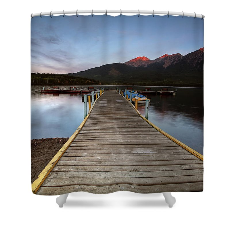 Docks Shower Curtain featuring the digital art Water Reflections At Pyramid Lake by Mark Duffy