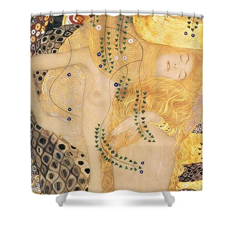 Gustav Klimt Shower Curtain Featuring The Painting Water Serpents I By