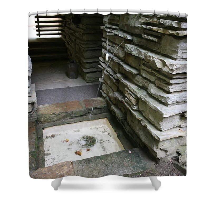 Falling Water Shower Curtain featuring the photograph Water Spout Fallingwater by Chuck Kuhn