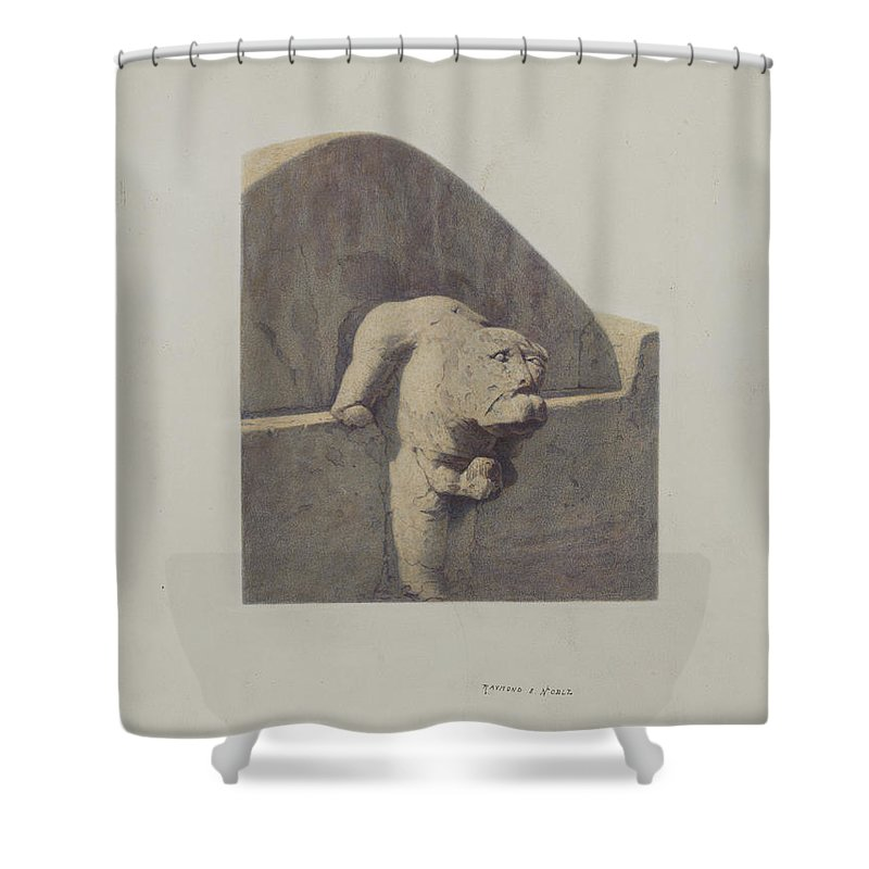 Shower Curtain featuring the drawing Water Spout, Sandstone by Raymond E. Noble