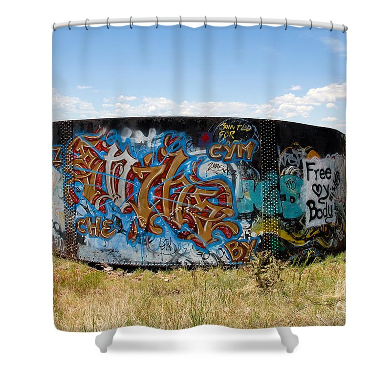 Graffiti Shower Curtain featuring the photograph Water Tank Graffiti by David Lee Thompson