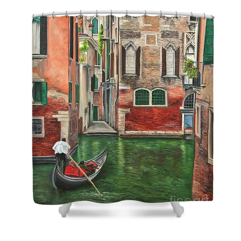 Venice Paintings Shower Curtain featuring the painting Water Taxi On Venice Side Canal by Charlotte Blanchard