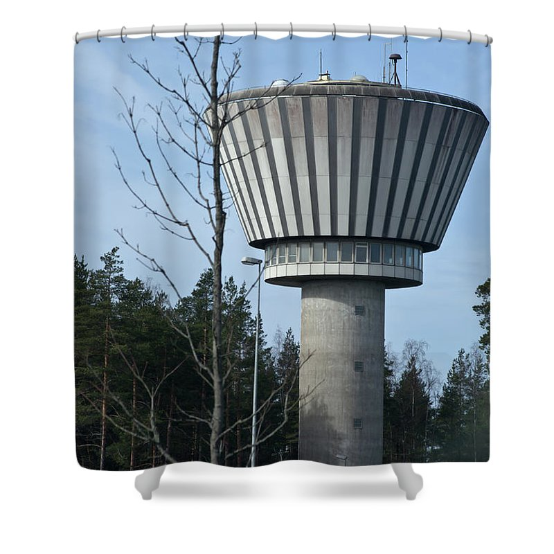 Water Tower Shower Curtain featuring the photograph Water Tower Of Lohja Station by Jarmo Honkanen