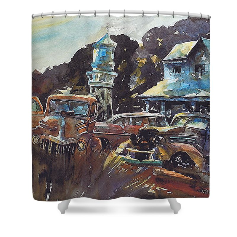 Old Cars Shower Curtain featuring the painting Water Tower Wardens by Ron Morrison