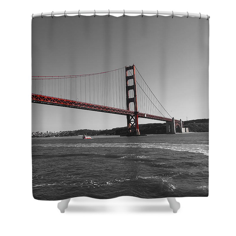 San Francisco Shower Curtain featuring the photograph Water Underneath The Bridge-black And White by Douglas Barnard
