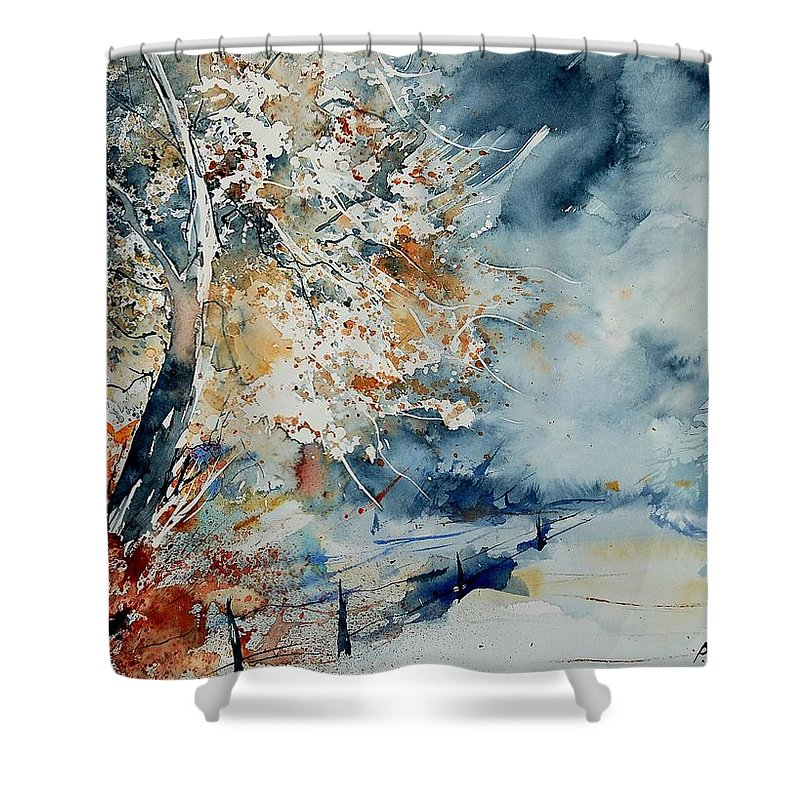 Landscape Shower Curtain featuring the painting Watercolo 2407063 by Pol Ledent