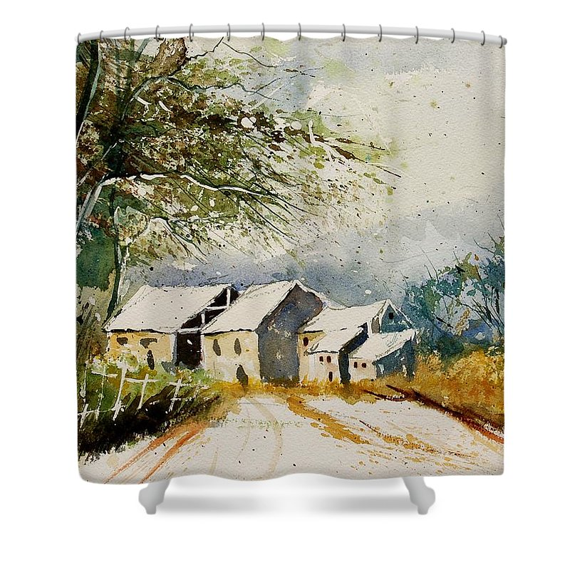 Landscape Shower Curtain featuring the painting Watercolor 010708 by Pol Ledent