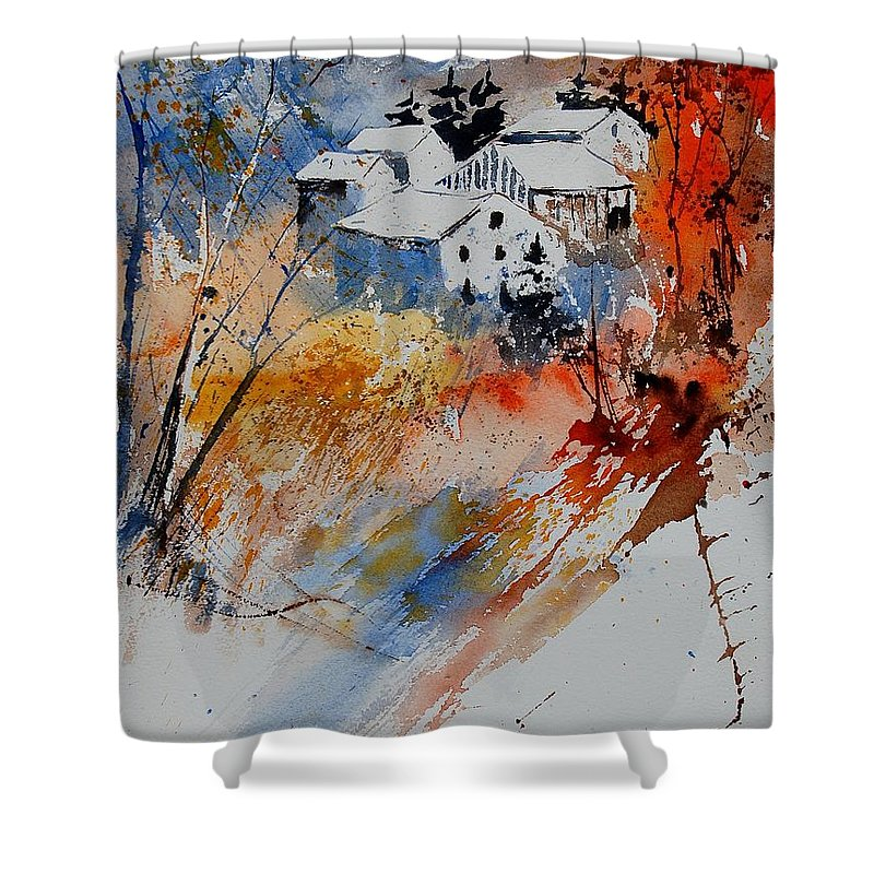 Landscape Shower Curtain featuring the painting Watercolor 011012 by Pol Ledent