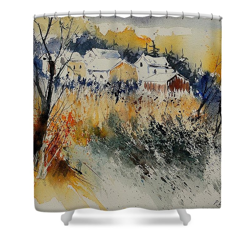 Landscape Shower Curtain featuring the painting Watercolor 011071 by Pol Ledent