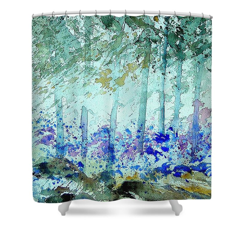 Tree Shower Curtain featuring the painting Watercolor 011105 by Pol Ledent